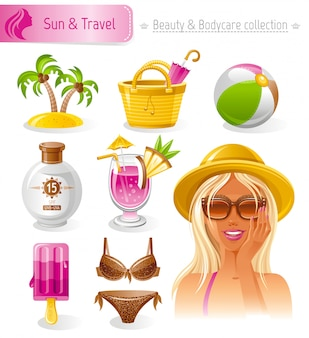 Set de belleza y cosmética. colección de verano con hermosa chica rubia bronceada en sombrero de paja.