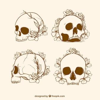 Set de bocetos de calavera con flores