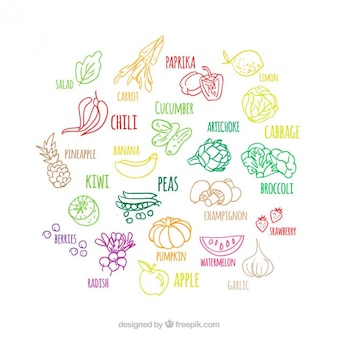 Set de bocetos de colores de frutas y verdyras