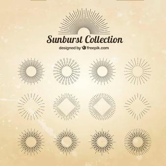 Set de bocetos decorativos de rayos de sol