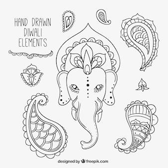 Set de bocetos de elementos del festival diwali
