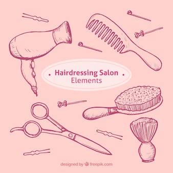 Set de bocetos objetos de salón de peluquería