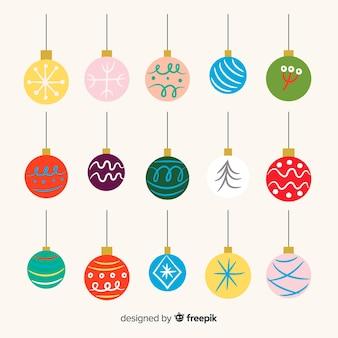 Set de bolas de navidad dibujadas a mano