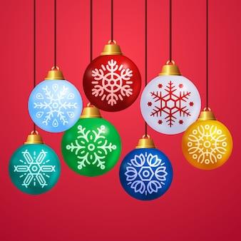 Set de bolas de navidad de diseño plano