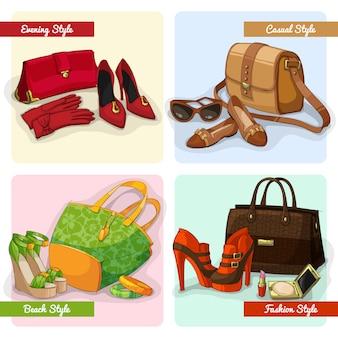 Set de bolsos de mujer elegantes, zapatos y accesorios en moda de noche casual y de playa.