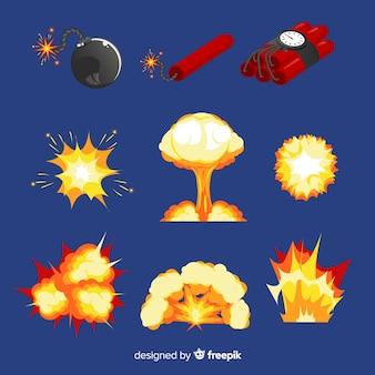 Set de bombas y efectos de explosiones de bombas de dibujos