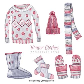 Set de bonita ropa de invierno de acuarela