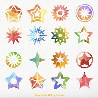 Set de bonitas estrellas decorativas de acuarela
