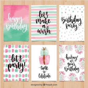 Set de bonitas felicitaciones de cumpleaños de acuarela