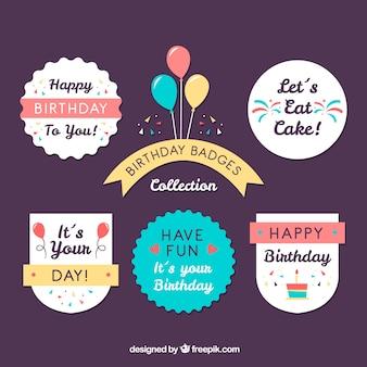 Set de bonitas pegatinas de cumpleaños retro