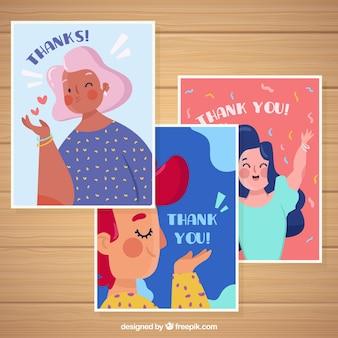 Set de bonitas tarjetas de agradecimiento con personajes