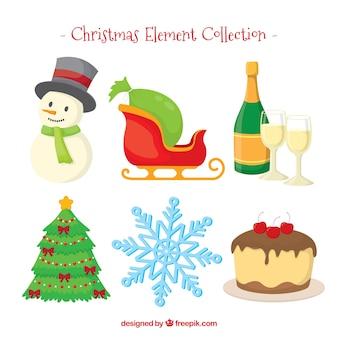 Set de bonitos elementos de navidad