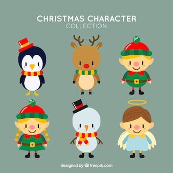 Set de bonitos personajes navideños en diseño plano