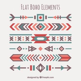 Set de bordes étnicos en diseño plano