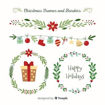 Set de bordes y marcos navideños