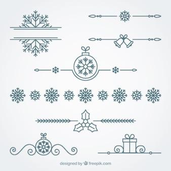 Set de bordes ornamentales de navidad