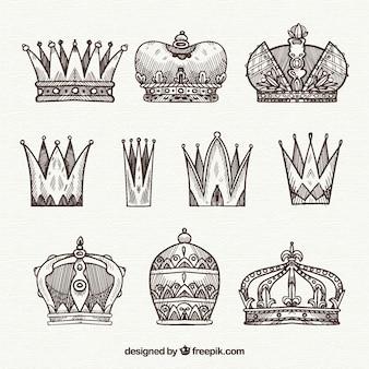 Set de bosquejos de coronas de la realeza