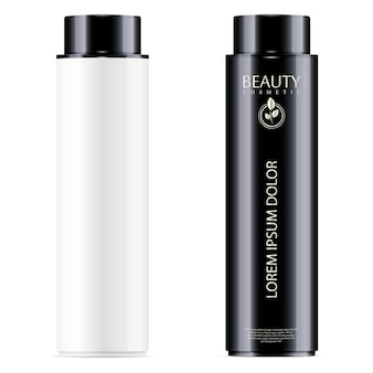Set de botellas cosméticas en blanco y negro para tóner facial, champú para el cabello o gel de ducha.