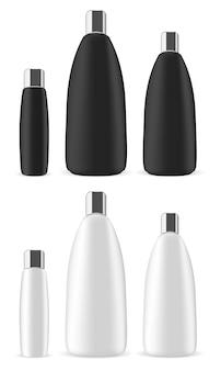 Set de botellas cosméticas. paquete de champú contenedor. 3d
