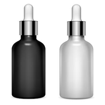 Set de botellas cuentagotas. suero cosmético. vial de aceite transparente
