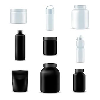 Set de botellas deportivas realistas