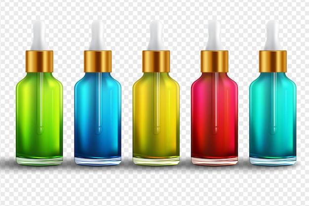 Set de botellas realistas para aceites esenciales y cosméticos.