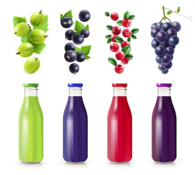 Set de botellas realistas con jugo de bayas