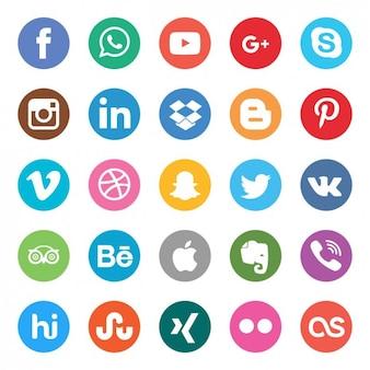 Set de botones de colores de redes sociales