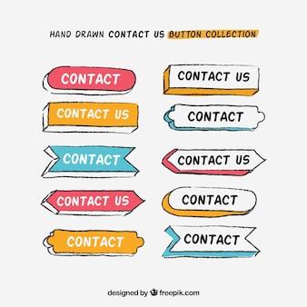 Set de botones de contacto dibujados a mano