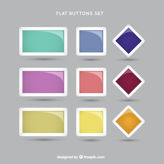 Set de botones en un estilo plano