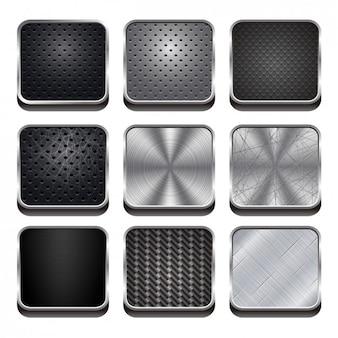 Set de botones web de metal