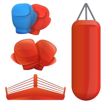 Set de boxeo, estilo de dibujos animados