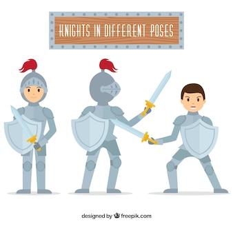 Set de caballeros con escudos en diferentes posturas