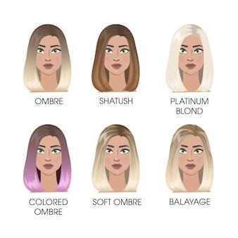 Set de cabello coloreado. ombre y shatush, platino y cabello teñido.