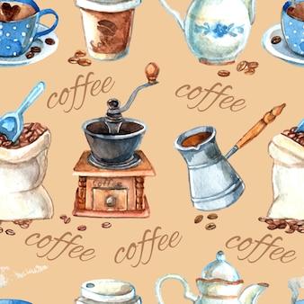 Set de café vintage elementos de patrones sin fisuras