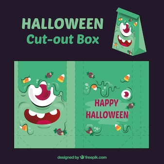 Set de caja recortable de feliz halloween