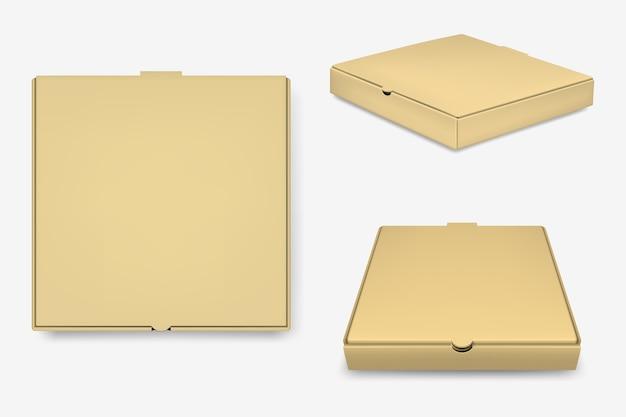 Set de cajas de pizza marrón.