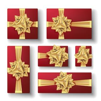 Set de cajas de regalo con lazo dorado