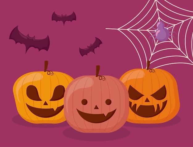 Set de calabazas de halloween con araña y murciélagos.