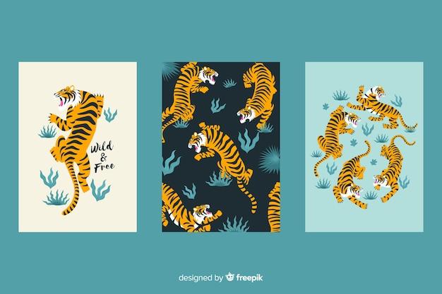 Set de cartas dibujadas de animales salvajes
