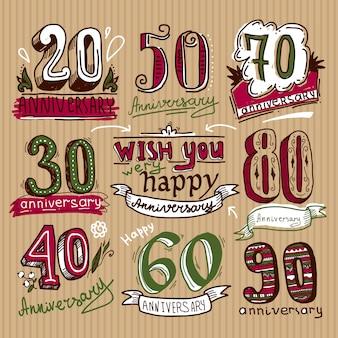 Set de carteles de aniversario