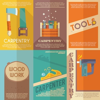 Set de carteles de carpintería