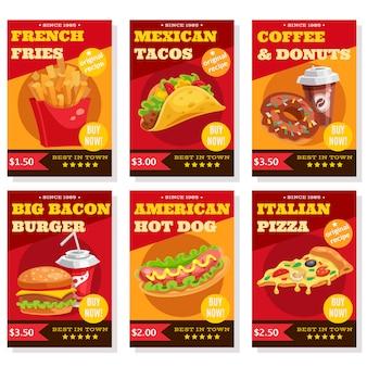 Set de carteles de comida rápida