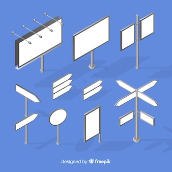 Set de carteles luminosos isométricos