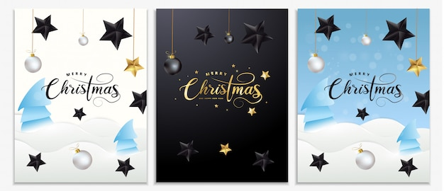 Set de carteles de navidad, invitaciones, tarjetas o volantes. banners de vacaciones con letras de oro metálico, estrellas negras, bolas de navidad, nieve, oropel y confeti. decoración festiva de invierno.