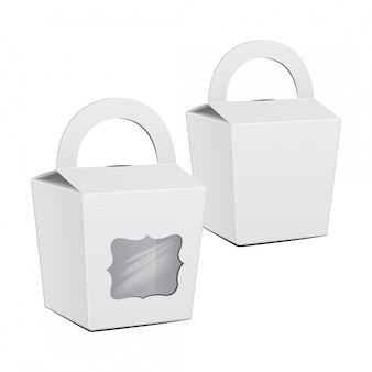 Set de cartón blanco caja de pastel. para comida rápida, regalo.