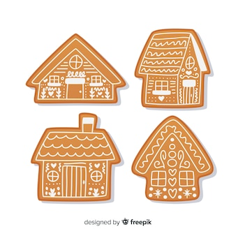 Set de casitas navideñas de galleta