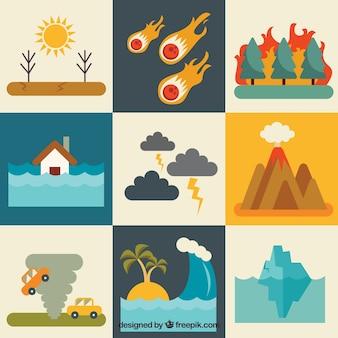 Set de catástrofes naturales en diseño plano