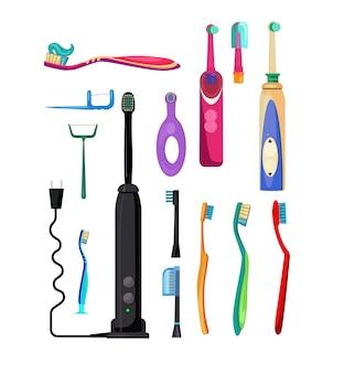 Set de cepillos de dientes eléctricos y sencillos.