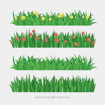 Set de césped y flores